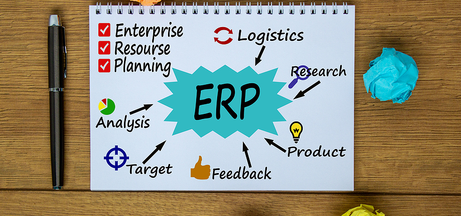 Notebook, Pen And Notes About Enterprise Resource Planning Software