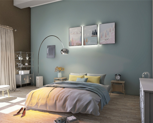 Bedroom with blockout curtains in Adelaide