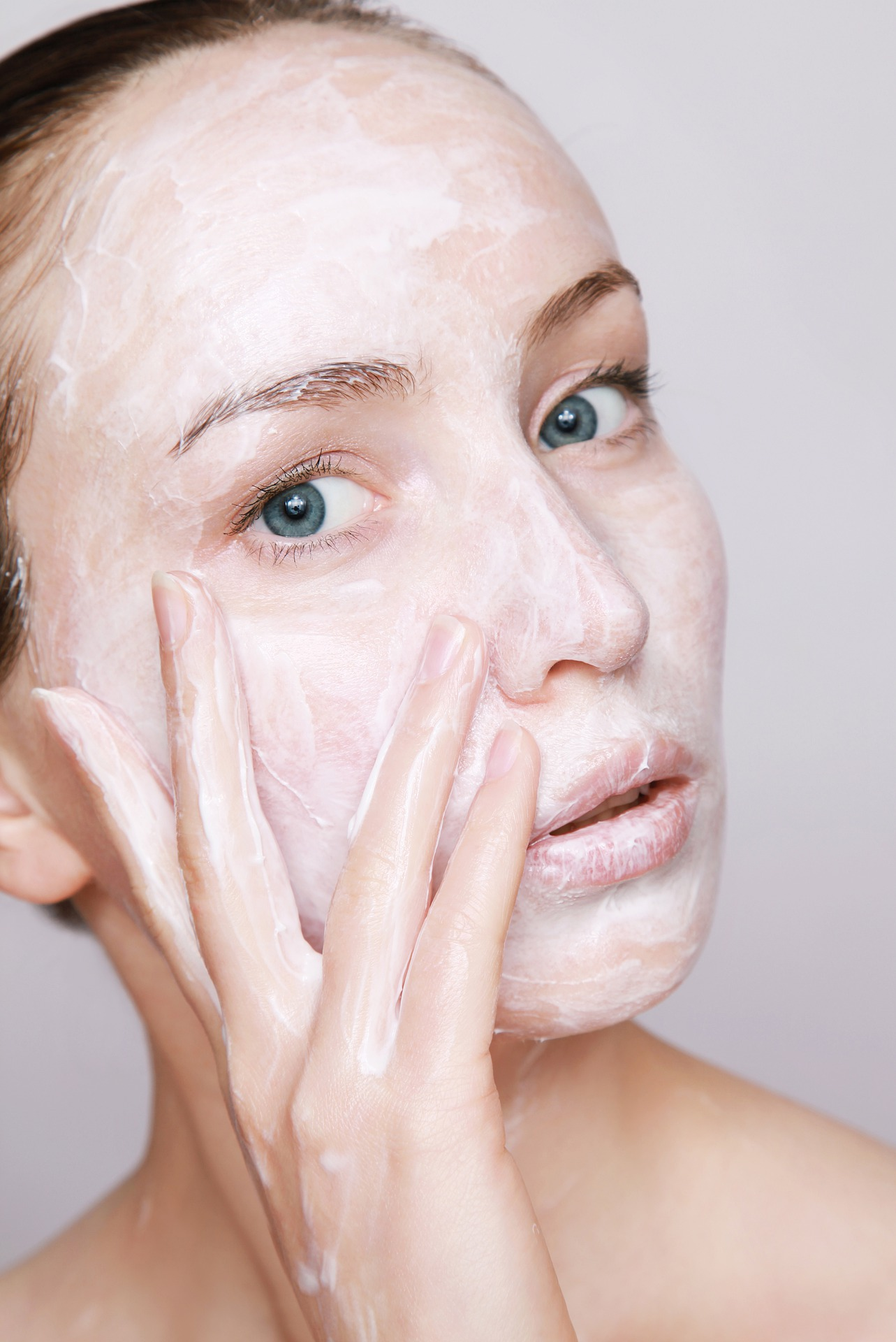 Woman with beauty mask on the face